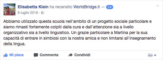 Recensione WorldBridge su Facebook